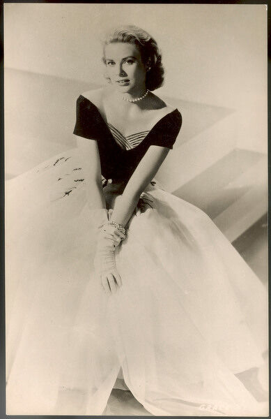 GRACE KELLY American film actress, seen here in an elegant dress