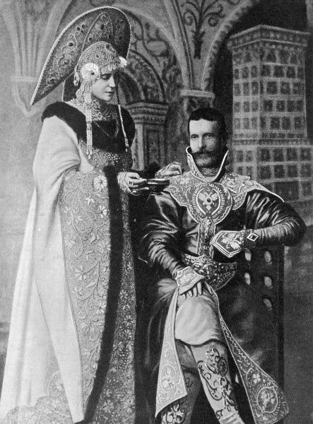 Grand Duke Serge Alexandrovich and his wife, the Grand Duchess Elisabeth Feodorovna in historical costumes. The duke was a victim of an anarchist bombing of Moscow