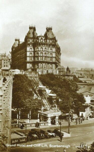 Grand Hotel and chair lift, Scarborough, North Yorkshire Date: circa 1930s