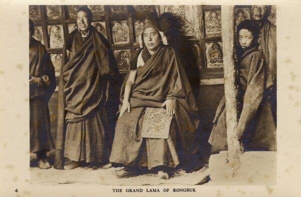 The Grand Lama of the Rongbuk Monastery, Tibet. Date: circa 1910s