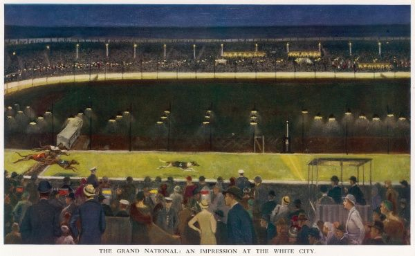 Artist's impression of the vast enclosure at White City greyhound racing stadium on the night of the last Grand National, the finish of which is illustrated. The winning dog is Mrs L. J. Lake's Long Hop, the supreme racer over hurdles of 1932