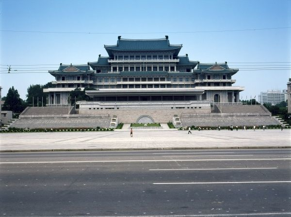 External view of the Grand People's Study House in Kim Il Sung Square, Pyongyang, capital of North Korea