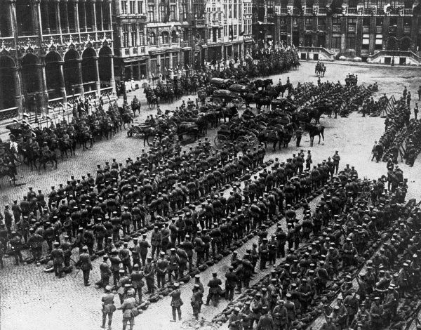 German troops lined up and demonstrating 'the orderliness of Prussian militarism' in the Grand Place of Brussels, Belgium, during their occupation of the country in 1914