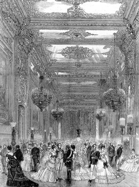 Engraving showing a formal event in the Grand Reception Room used by Queen Victoria, Windsor Castle, 1874
