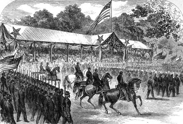 Engraving showing the grand review of the Union army before President Johnson, that took place in Washington following the end of the American Civil War, 1865