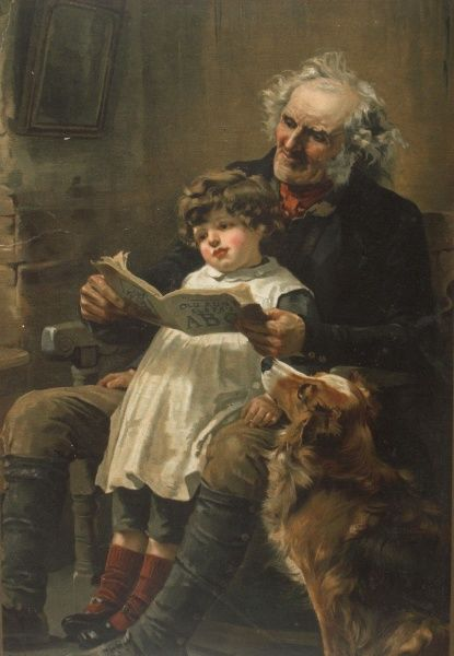 A Victorian illustration showing an old grandfather reading with a small child