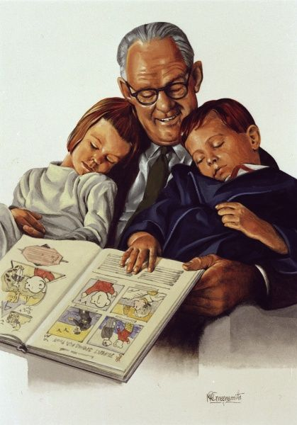 Grandfather reads a Rupert the Bear picture book to his grandchildren, both of whom have fallen asleep