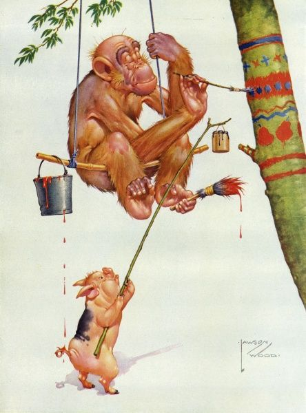 Humorous illustration depicting Gran'pop, the orang-utan character created by Lawson Wood, happily painting patterns on his new roof tree, while a little piglet assistant holds a long branch with a paint pot attached to the end. Date: 1935