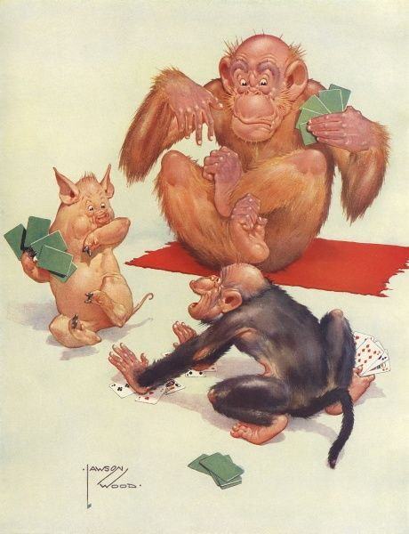 A game of cards between an Granpop, a pig and a monkey becomes rather fraught. Date: 1934