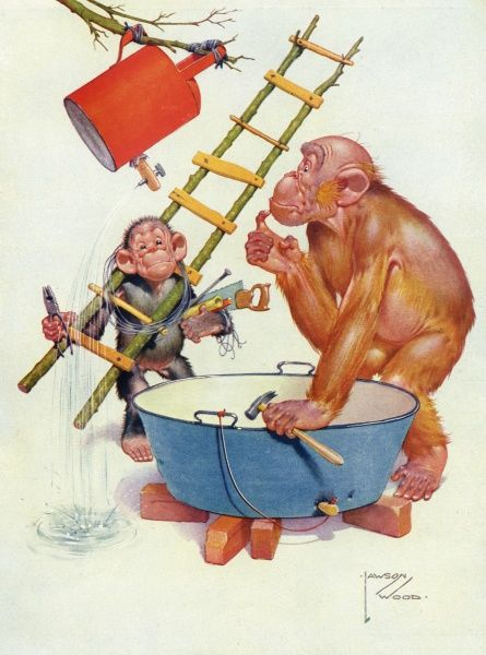 Humorous illustration by Lawson Wood depicting his orang utan character, Gran'pop embarking on a bit of plumbing by trying to fashion a shower (perhaps?) out of a tin bath and watering can, all with the aid of a small monkey friend. Date: 1935