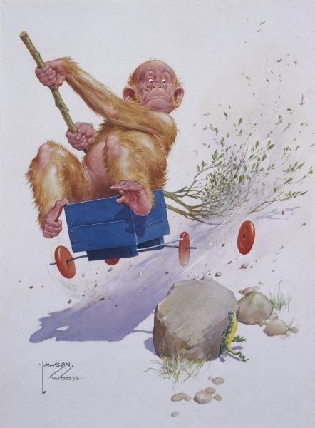 Comic illustration by Lawson Wood showing Gran'pop the orang utan about to have a rather dangerous accident while driving a go-kart