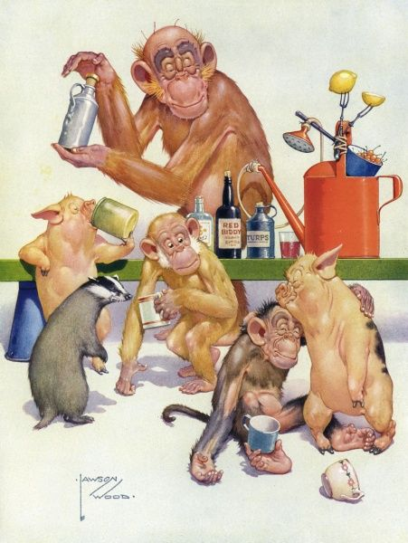 Humorous illustration depicting Gran'pop, the orang utan character created by Lawson Wood, who was a regular feature of The Sketch during the 1930s, dispensing a variety of lethal cocktails to his animal friends who appear very much worse for wear