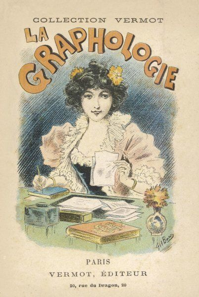 'LA GRAPHOLOGIE' French manual on the study of handwriting - a lady studies a script