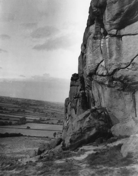 View at Great Alms Cliff, near Harrogate, Yorkshire, England, a rocky outcrop, commanding remarkable views of Wharfdale and the Plain of York. Date: 1950s
