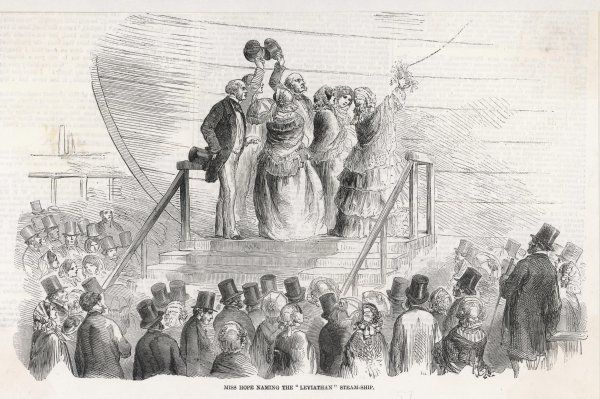 Miss Hope hopefully names the ship 'Leviathan' - but the launch is abortive and is not completed until 31 January 1858