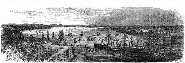 The arrival of the 'Great Eastern' steamship at New York, 1860. Date: 1860