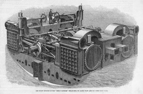 The huge screw engines of the Great Eastern, designed and bult by James Watt and Co