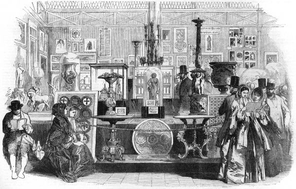 The bay of the fine art court and the Great Exhibition which included glass mosaics, architectural models, decorations and designs. Date: 1851