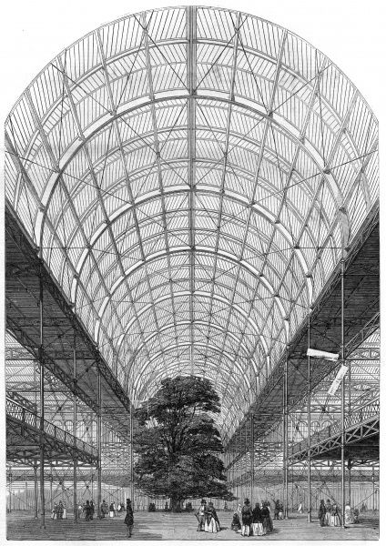 A view of the interior of the Transept of the building constructed for the Great Exhibition in Hyde Park, the Crystal Palace, looking north. Date: January 1851
