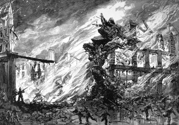 A large building in Clerkenwell collapsing as it is engulfed by flames. Firemen in 1880's uniform can be seen attempting to subdue the fire with hosepipes