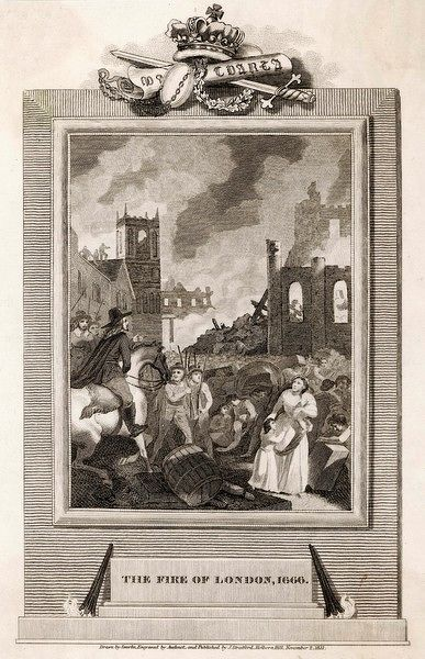 Street scene during the Great Fire of London