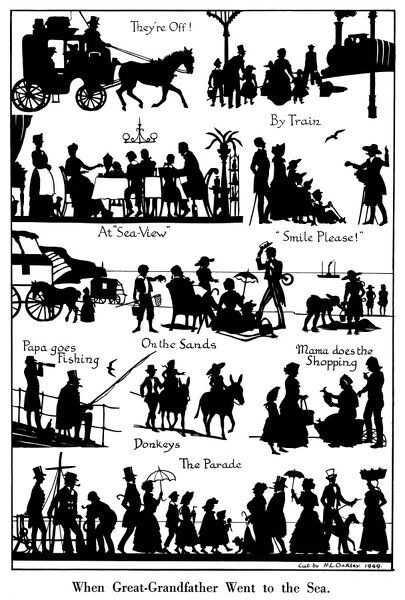 A series of charming silhouette cut outs by H. L. Oakley depicting scenes at the seaside during the Victorian era from the journey there by carriage and train to donkey rides and promenading along the pier