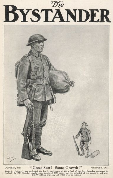 A comment on the impressive growth of contribution by Canada to the Allied effort during World War I. The towering Canadian soldier here is a symbol of numerical force. 130,000 Canadians lost their lives during WWI