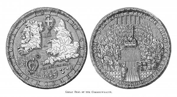 Great Seal of the Commonwealth showing the house of commons in sitting and a map showing England, Wales & Ireland, the Irish Sea & the British Sea