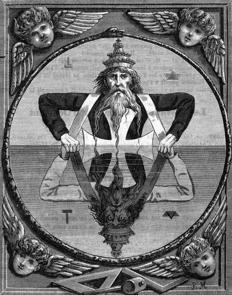 This symbol is used to teach the two principlies of the divinity to new members. It shows the two old men of the Kaballah; the God of Light and the God of Reflection, the merciful and the cruel, the White Jehovah and the Black Jehovah. Date: 1890s