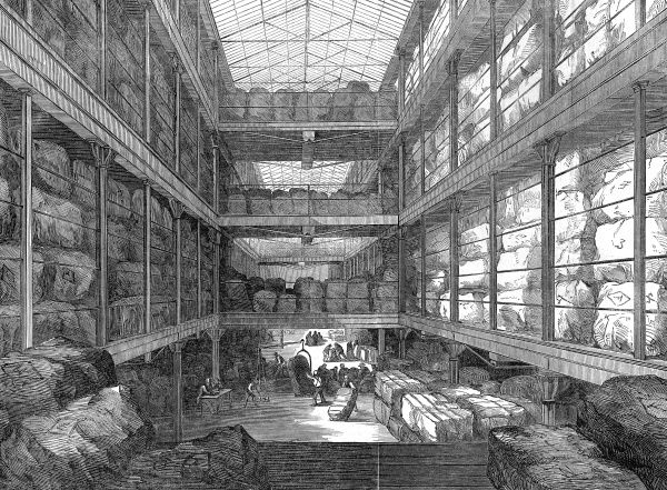 The great wool-floor at the London Docks. The London Dock Company enlarged the warehouse for receiving wool imports from the colonies in the 1840's, providing considerable space for storing and viewing. The ILN estimated wool importation to be 130