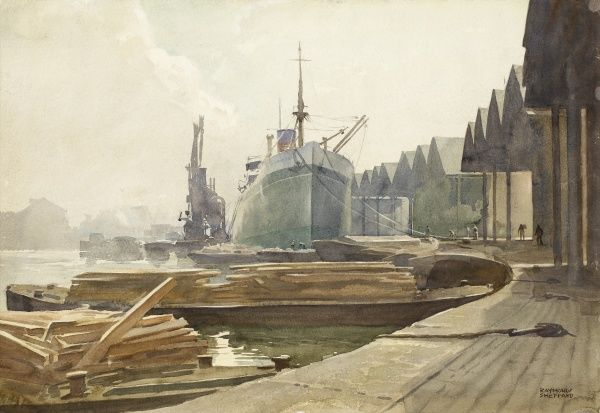 Great Yarmouth Dockyards. Watercolour painting by Raymond Sheppard