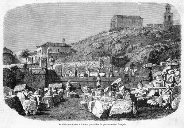 Ruins at Eleusis, site associated with the 'mysteries', excavated by a French government-sponsored expedition