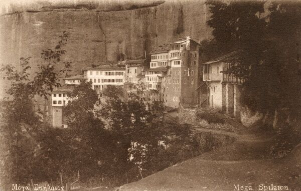 The Holy Monastery of Mega Spileo in Kalavrita (Kalavryta), the most amazing shrine of the Eastern Orthodox Church in the Peloponese, Greece. Date: circa 1920s