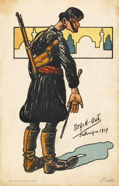 A Greek Anti-Turkish propaganda postcard, showing a disgruntled Greek soldier, standing in front of a very Islamic skyline in reference to the displeasure at the Turkish arrival in Salonica