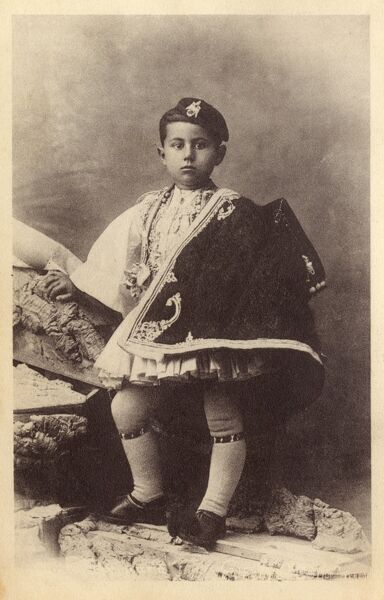 Greek Boy in traditional costume Date: circa 1910s