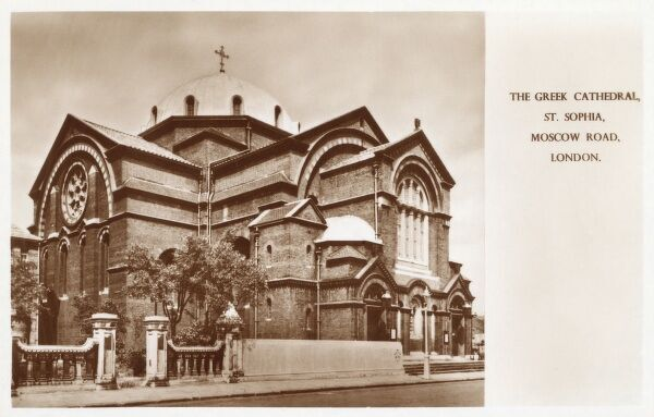 The Greek Cathedral, St. Sophia, Moscow Road, Bayswater, London, built in 1879. Date: circa 1930s
