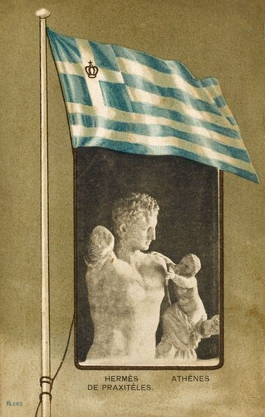 Sculpture by Praxiteles of Hermes with the Infant Dionysus, (discovered at Olympia in 1877) set in a border of the modern Greek flag