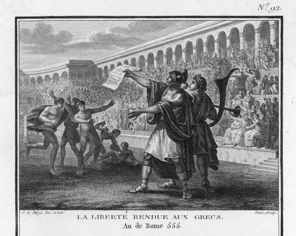 At the Isthmian Games, Roman general Flaminius announces Greek independence