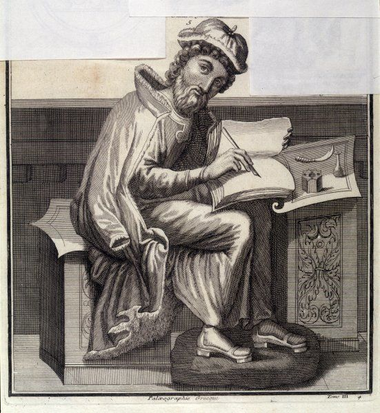 A Greek philosopher sets pen to paper, in a book rather than a scroll, as you might have expected ; inkwell, sand and a knife are ready to hand