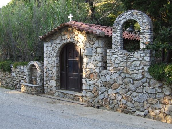 A small roadsode church on the island of Skiathos, Greece, part of the Sporades group of islands