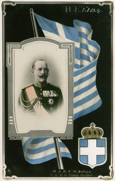 King Constantine I of Greece (1868 - 1923) - became King in 1913, on this card he is noted as 'Heir Apparent' hence the date is pre-1913