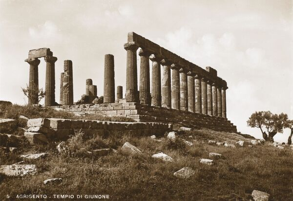 The remains of the Greek Temple of Hera Lacinia (Giunone) at Agrigento, Sicily