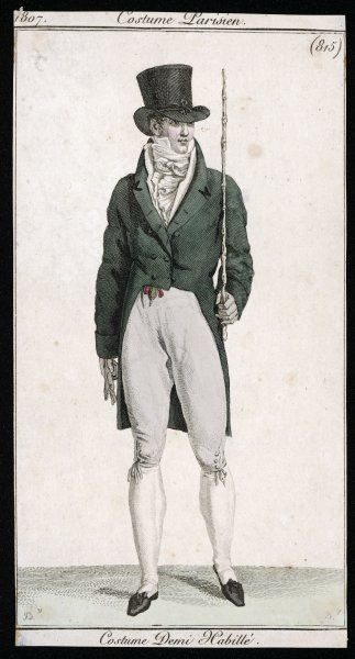 Green double-breasted cut-away coat with stand-fall collar & revers, white waistcoat, cravat & silk stockings, pale grey breeches, black pumps, top hat & fob ribbon