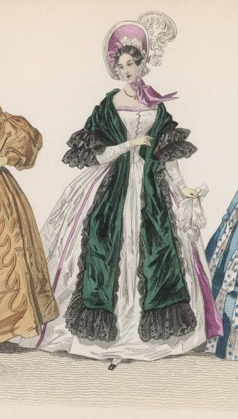 Late C19th century depiction of 1830s costume: white dress trimmed in pink. The sleeves appear long & tight fitting. Worn with a long green scarf trimmed with black lace
