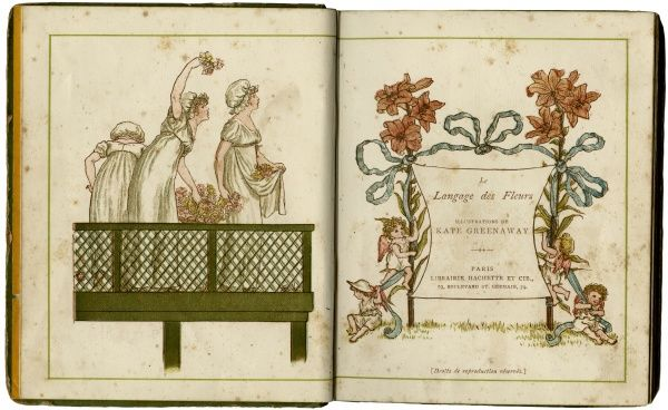 Pages from Kate Greenaway's 'Le Langage des Fleurs'. Date: First published: 1884