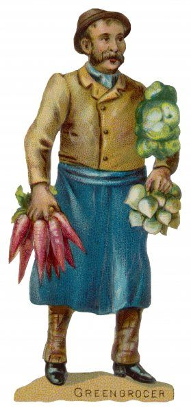 The greengrocer with bunches of vegetables