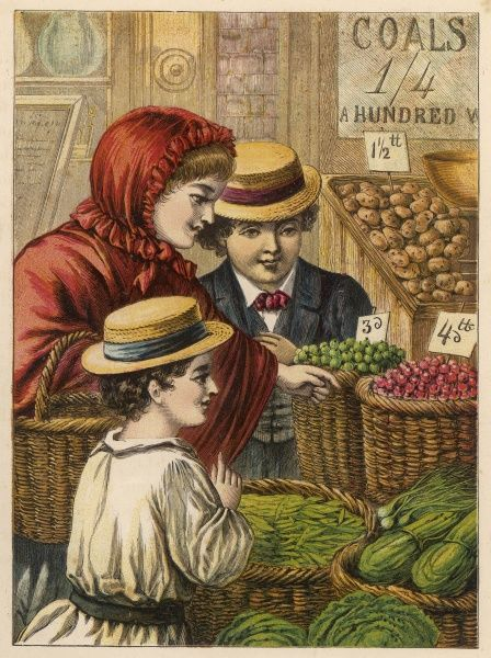 Children at the greengrocer's