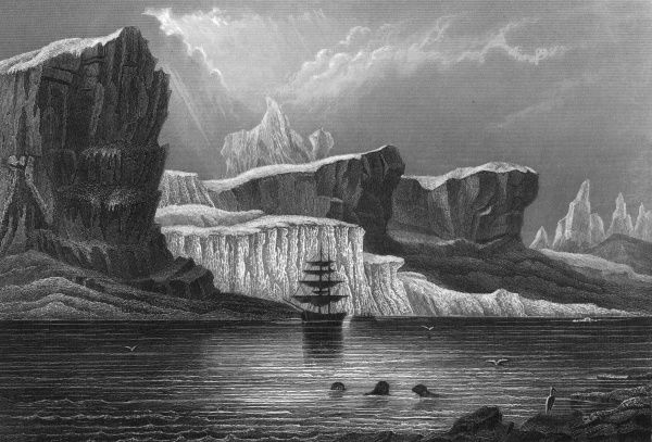 Greenland's icy mountains, on an inlet of Baffin Bay on the northwest coast. Date: 1850