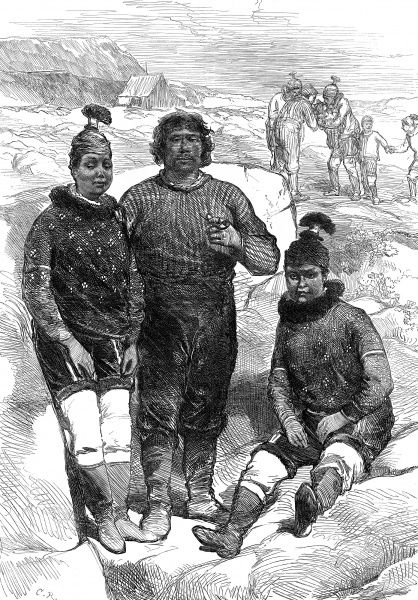 Engraving showing three inhabitants of Godhaven, Disco Island, Greenland. Disco Island was one of the places visited by the British Arctic Expedition of 1875. In the summer of 1875 the British Admiralty sent Captain George Nares with two ships