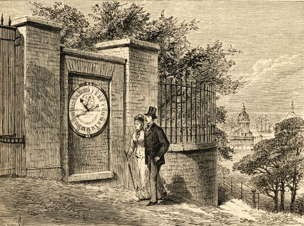 A young well-dressed couple admire the magnetic clock outside Greenwich Royal Observatory. Date: 19th Century